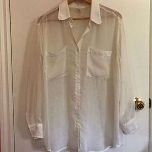 American Apparel Sheer Oversized Button-Down